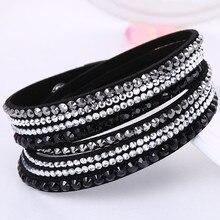 HOCOLE Fashion Wrap Leather Bangle Charm Leather Bracelet Rhinestone Crystal Jewelry For Women feminino pulseras mulher