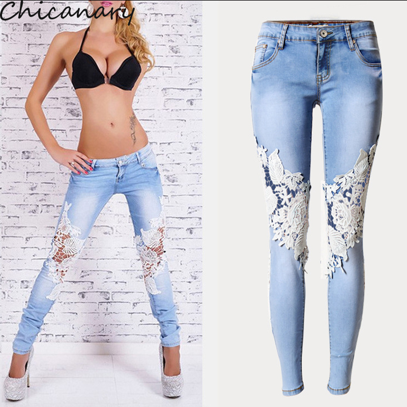 2016 Spring Women Vintage Denim Hot Sexy Openwork Lace Stitching Trousers Slim Feet Jeans Woman Plus