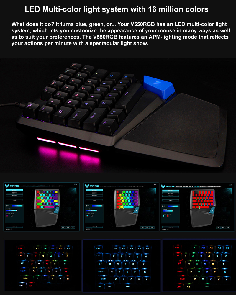 Newest Rapoo V550RGB One/Single Hand Mechanical Gaming keyboard with 34keys  Programmable RGB Light for PUBG LOL Gamer Computer - AliExpress