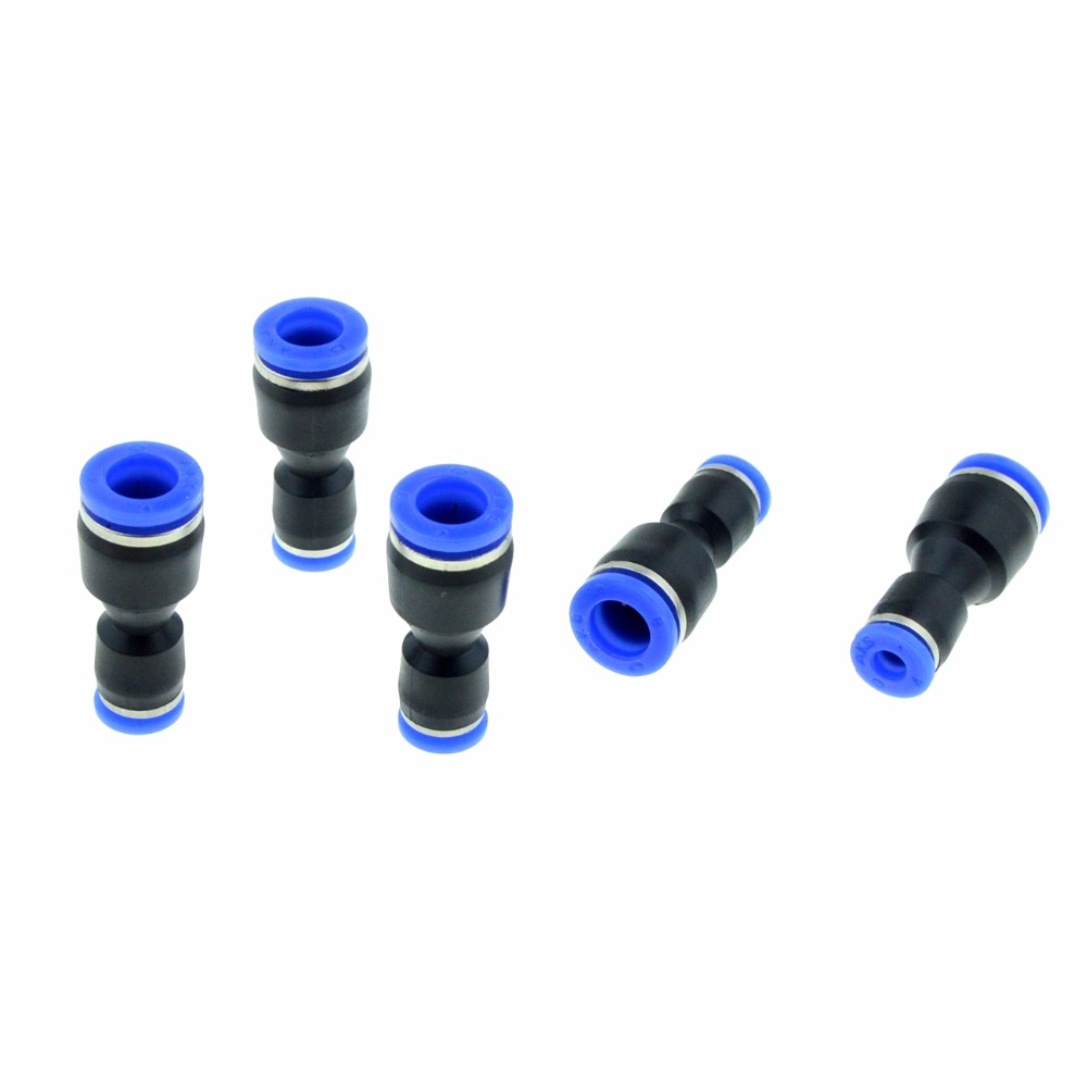 5Pcs Air Pneumatic 4mm Tube to 8mm Tube Straight Push in One Touch Connector Fittings Quick Fitting black 12mm push in one touch pneumatic quick fitting