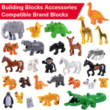 купить QUINEEOX Animal Model Building Blocks Big Blocks Elephant Lion Horse Tiger Building Blocks Kids Education Toys For Children Gift по цене 40.92 рублей