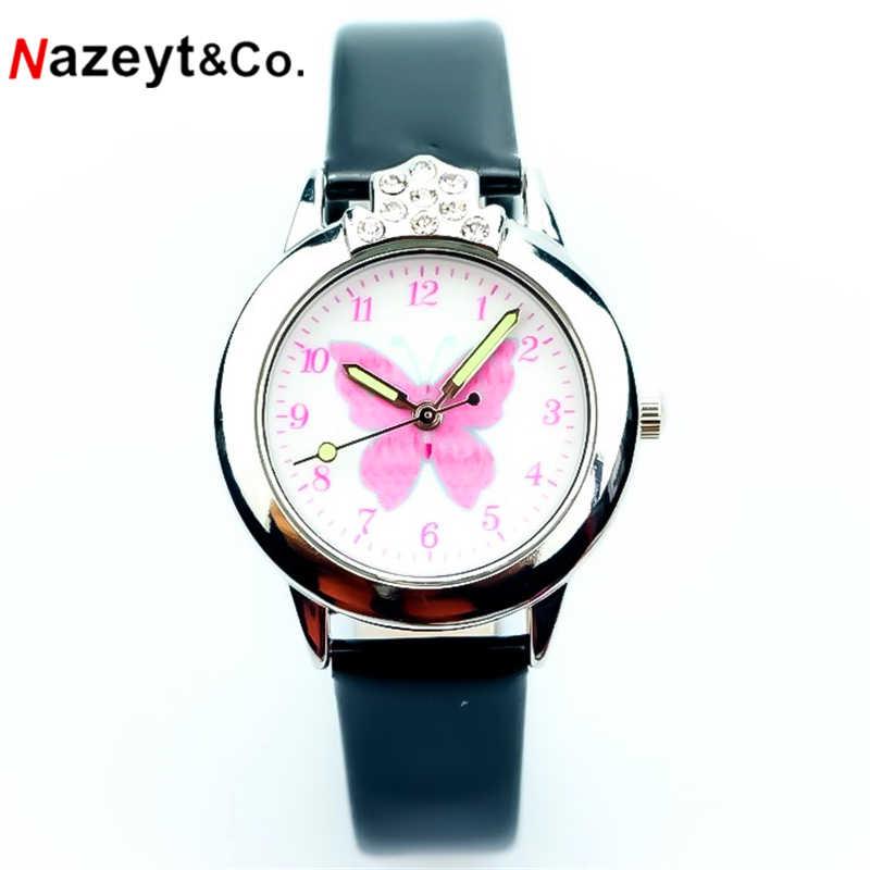 Nazeyt kids bajkowy zegarek dziewczęcy piękny motyl dial luminous hands kryształowy zegarek ze skórzanym paskiem z diamentowym prezentem na dzień dziecka