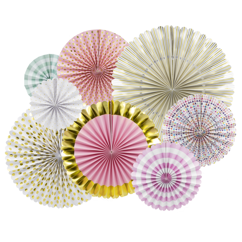 NICROLANDEE 8Pcs Conjunto Ventilador de Flor de Papel da Festa de Aniversário Decoração Criativa Handmade Multi Color Folding Fan Festa Supplie