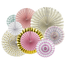 NICROLANDEE 8Pcs Paper Flower Fan Set Birthday Party Decoration Creative Handmade Multi Color Folding Supplie