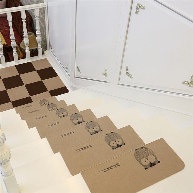 5pcs/set Owl Pattern Stair Carpet Sets Anti Slip Stairs Tread Protector  Mats Soft