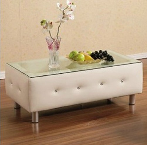 Sofa with a few simple glass coffee table storage European U-leather small bedside cabinet can be customized fashion teasideend