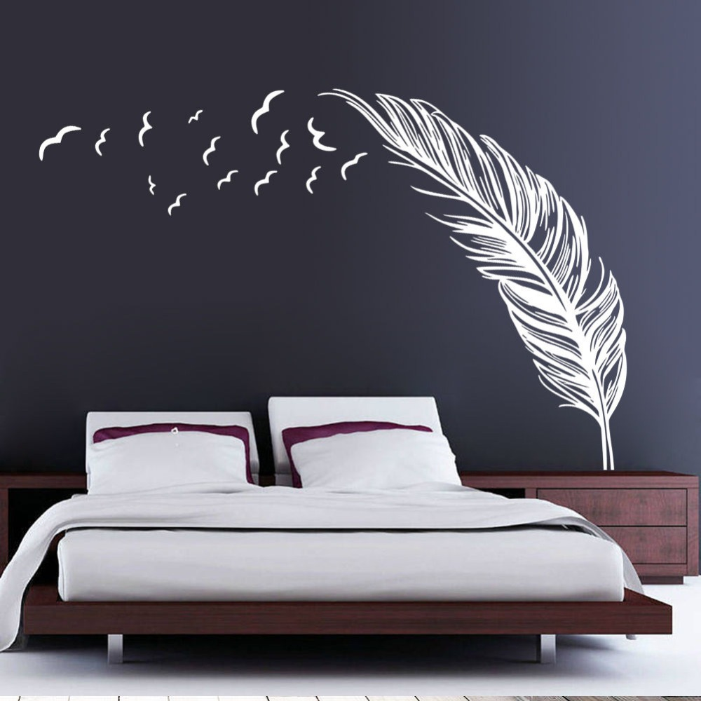 Aliexpress.com : Buy Free Shipping Creative Feather Vinyl Wall Decal  Feathers Flying Birds Mural Art Wall Sticker Living Room Bedroom Home  Decoration From ...