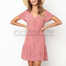 Cuerly chic print v neck button dress women short sleeve down mini casual summer bohemian beach feamle L5