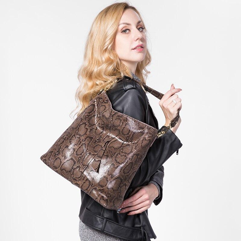 e4b397bd8653 REALER brand large shoulder bag female serpentine pattern genuine leather  handbag luxury designer women casual tote bags