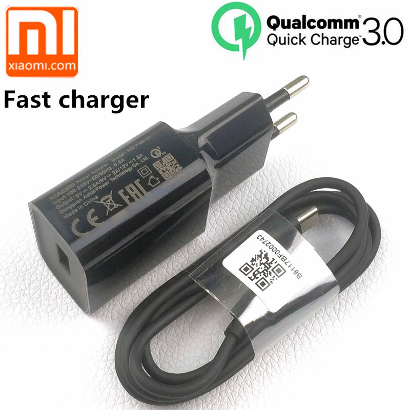 Original xiaomi Fast charger EU QC 3.0 quick charge usb type C cable for mi 9 8 se mi6 a1 a2 mix max 2 3 mi8 6 redmi note 7-in Mobile Phone Chargers from Cellphones & Telecommunications