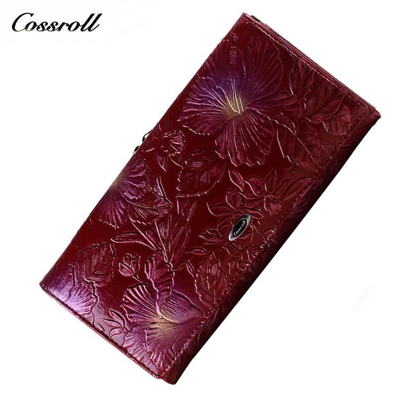 cossroll purses for women Wallet female original leather women wallets long carteira feminina women's purse genuine leather