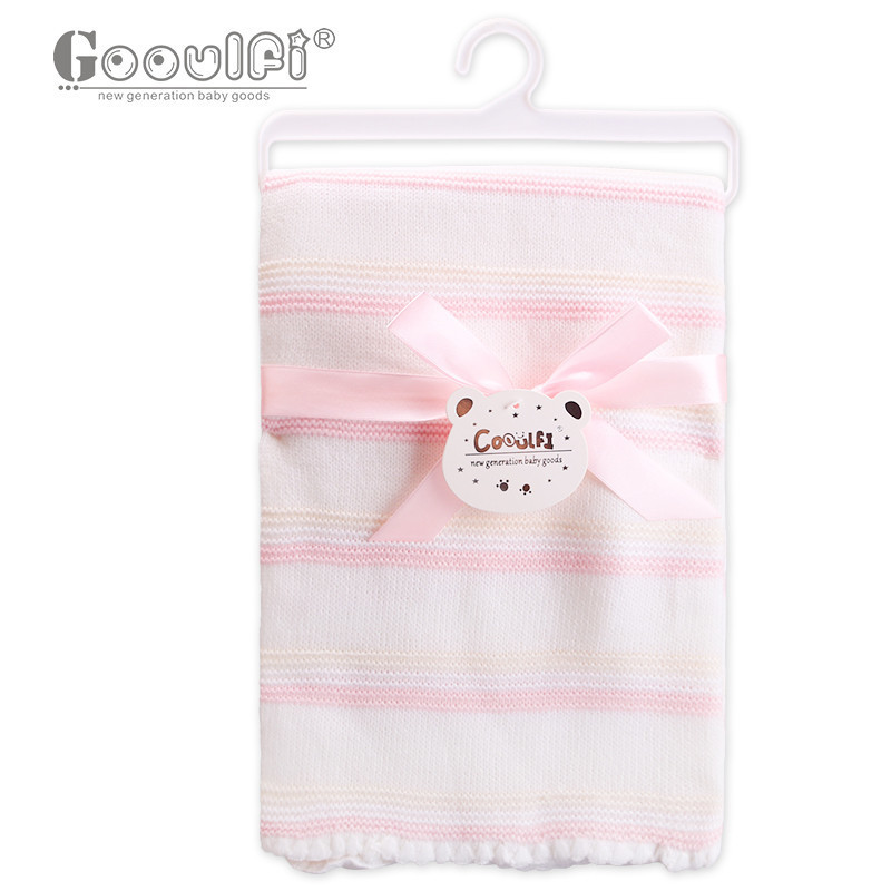 Gooulfi Blanket Baby Unisex 0-3 Months Knit Blanket Babi Solid Color 100% Acrylic Blue And Pink Stripe Pattern Newborn Blanket