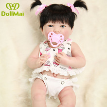 36cm mini Lifelike Silicone body Reborn Baby girl with Pink pacifier gift Alive Newborn Dolls hard Vinyl for girls Kid toy
