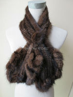 Wholesale Sell Retail Free Shipping Real Mink Knitted Fur Flouncing Scarf Brown