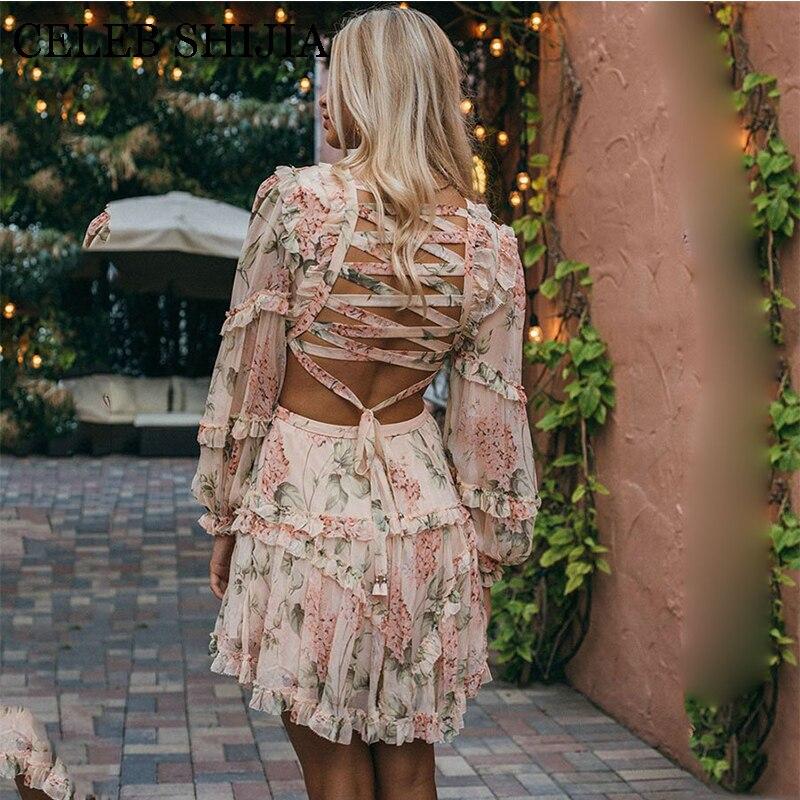 2019 Summer Sexy Criss cross Back Women Dress Flower Print Vocation and Beach Dress Deep V