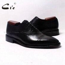Cie Площади Cap Toe Оксфорды Черный 100% Натуральной Телячьей Кожи Подошва Дышащая мужская Кожаная Обувь На Заказ Кожаной обуви HandmadeOX343