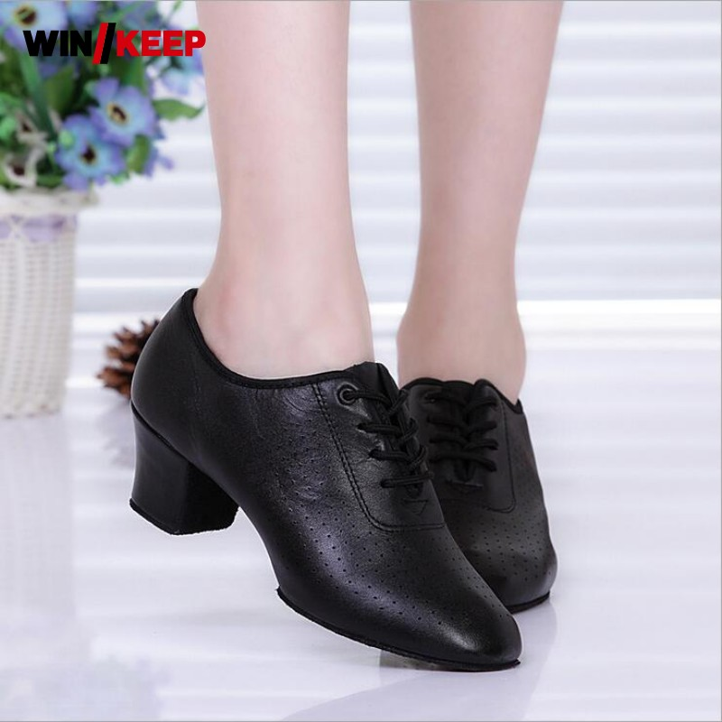 Women Sneakers 2019 Lace Up Block Heel Zapatos De Baile Latino Mujer Latin Jazz Dance Shoes For Women Shoes For Ballroom Dancing image