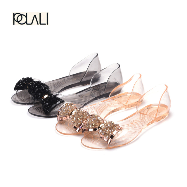 157a8bf58597 Women Sandals Summer Bling Bowtie Fashion Peep Toe Jelly Shoes Sandal Flat  Shoes Woman 2 Colors Size 36-40 XWZ722