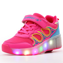 KIDS SHOES Girls Breathable Glowing Sneakers Boys Tenis Led Infantil Light Wheelie With Wheels Tenis De Rodinha Lights Roller