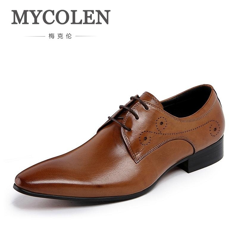 MYCOLEN Brand Pointed Toe Men's Oxfords Formal Shoes Black/ Brown Genuine Leather Men Dress Shoes Wedding Brogue Suit Men Flats good quality men genuine leather shoes lace up men s oxfords flats wedding black brown formal shoes