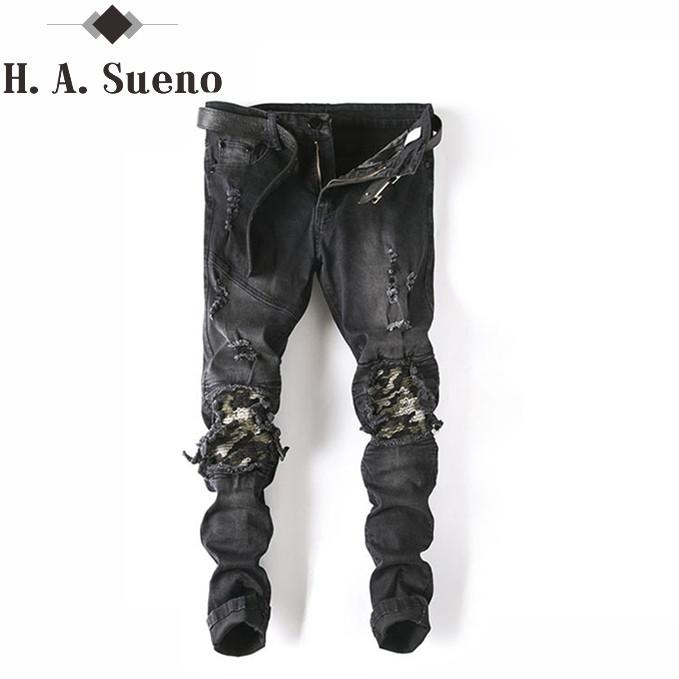 High Quality Streetwear fashion Slim Fit Jeans Black Locomotive Hole Men Jean Pleated Spliced Ripped Trousers