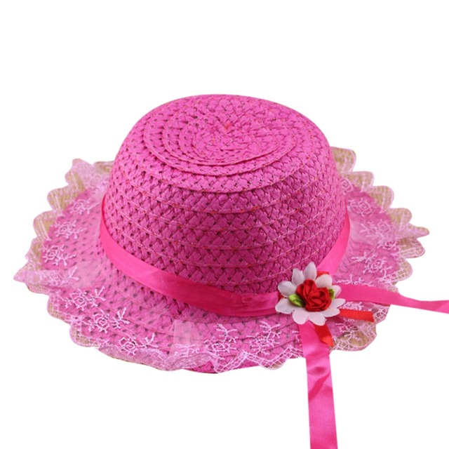 2-6y niño del bebé Encaje flor borde del nudo sombrero verano playa Sol paja 9e7bb655982