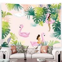 large Flamingo Tapestry pink Printed tropical green plant Wall Hanging Bohemian Beach Mat Blanket Yoga Shawl Mat 200cmx150cm