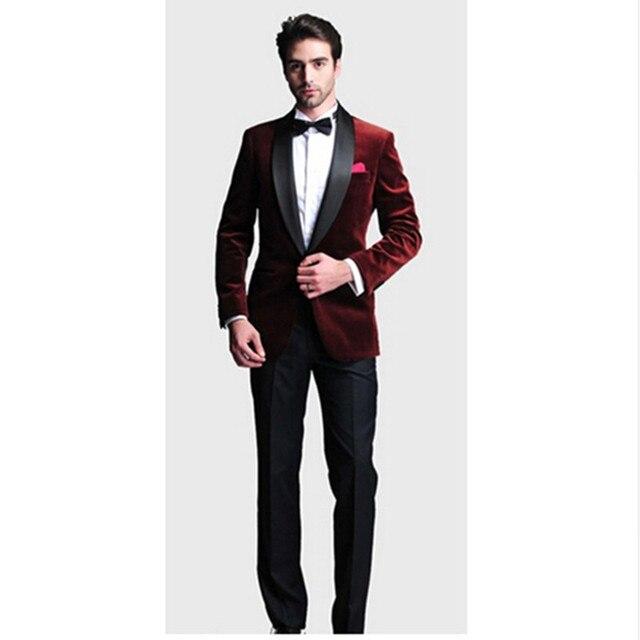 Fashion One Button men suit Dark Red Velvet Groom Tuxedos Groomsmen ...