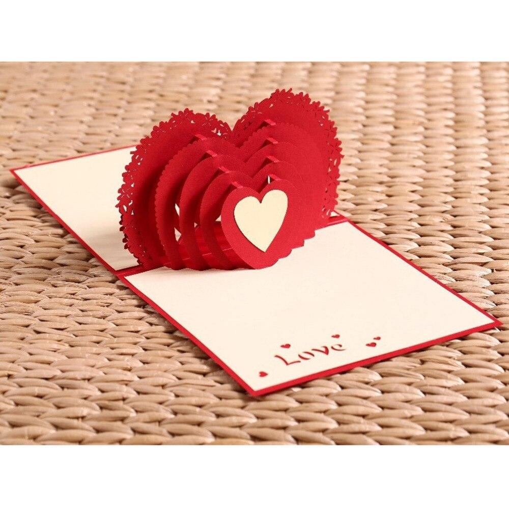 1PCS 100*150mm Laser Cut Wedding Invitations Cupid\'s Heart 3D Pop UP ...