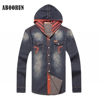 ABOORUN Korean Style Mens Slim Hooded Denim Shirts Pure Cotton Washed Single Breasted Jeans Shirts Male Casual Shirts YC1115