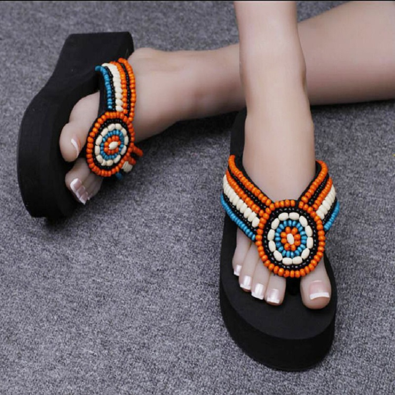 2016 new original pure hand sewing beads retro style flip flops ...