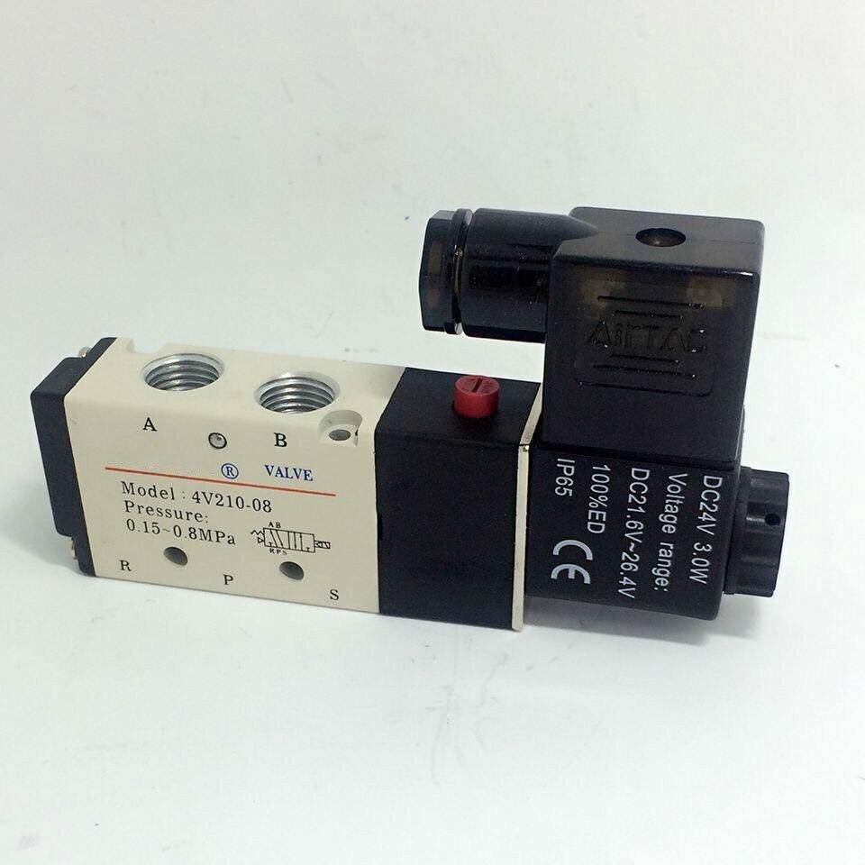 """5 Way 2 Position Airtac Electric Solenoid <font><b>Valve</b></font> 4V210-08 DC 24V DC12V AC110V AC220V ,1.4"""" Port Size"""