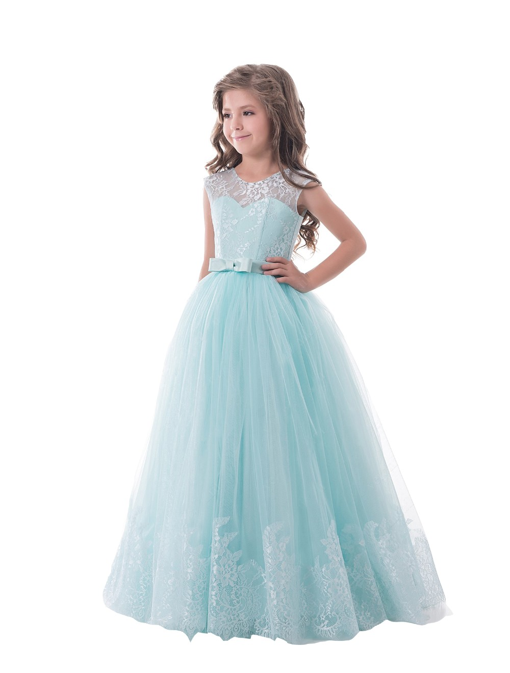 A-Line Flower Girl Dress Mint Green Sleeveless O-neck Little Girl Pageant Dresses Kids Party Dress Lace Mother Daughter Dresses women s stylish v neck sleeveless green print dress