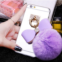 Luxury Mirror Soft TPU Fashion Bling Crystal Mirror Cover For IPhone 7 6 6S Plus Plating