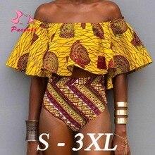 Bikini 2018 African Print Swimsuits Off Shoulder Bikini Set Brazilian Swimwear Female High Waisted Bathing Suit Plus Size Plavky все цены