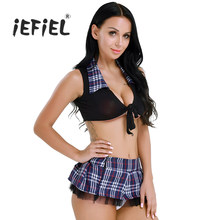 212a37290d iEFiEL Womens Exotic Sissy Lingerie School Girl Cosplay Uniform Wetlook Crop  Top with Plaid Skirt for Women's Sexy Costumes