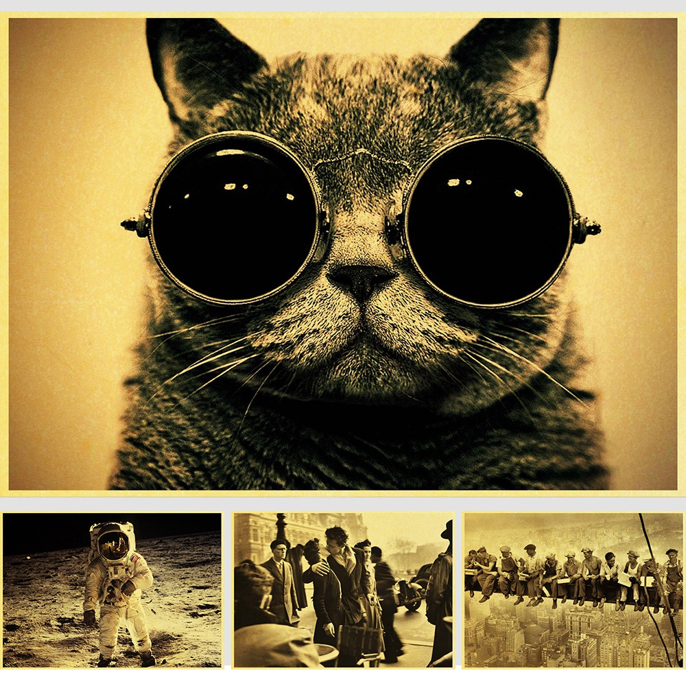 Movie Retro Posters Cute Cat With Sunglasses Vintage Paper Poster Wall Painting Home Decoration 42X30 CM 30X21 CM