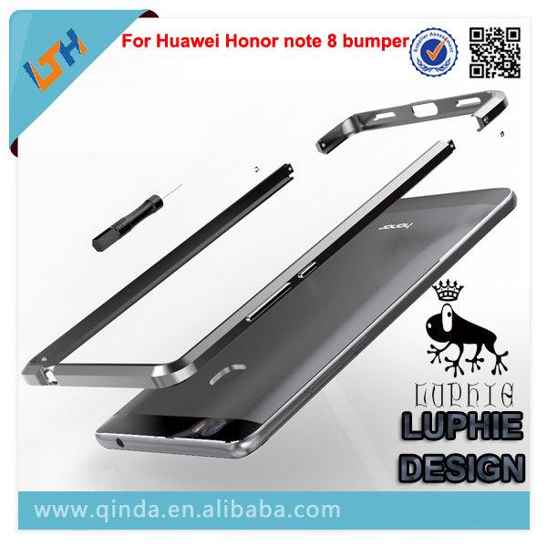 Para honor nota 8 bumper projeto luphie de metal 3d estereoscópico nota 8 do metal do metal no vidro traseiro para huawei honor bumper gratuito grátis