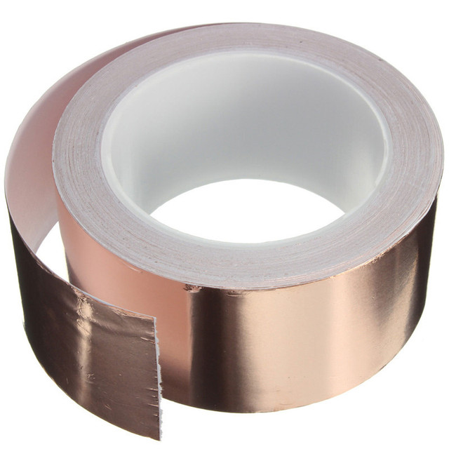 50mm x 20 m Adhesive Single Face Electric Conduction Copper Foil Tape Shielding Guitar Slug And Snail Barrier Lowest Price