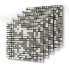 Five Sheets Silver 3D Glass Mixed Self-adhesive Aluminum Metal Mosaic for Bathroom Shower Tiles Kitchen Backsplash Tiles 12 Inch 2017 hot sea blue glass mixed grey stone mosaic linear bath shower fireplace kitchen wall tiles luxury art wall sticker lsstg01