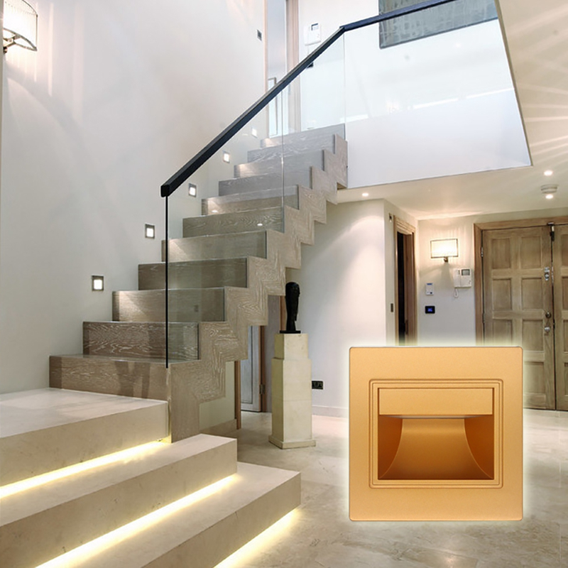 21 Staircase Lighting Design Ideas Pictures: 1/pcs Modern Recessed Led Stair Lights New Square Led Wall