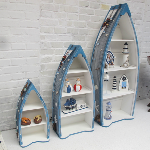 Special Shipping Mediterranean Style Wooden Home Accessories Blue Three Piece Boat Cabinet Storage Cabinets Lockers