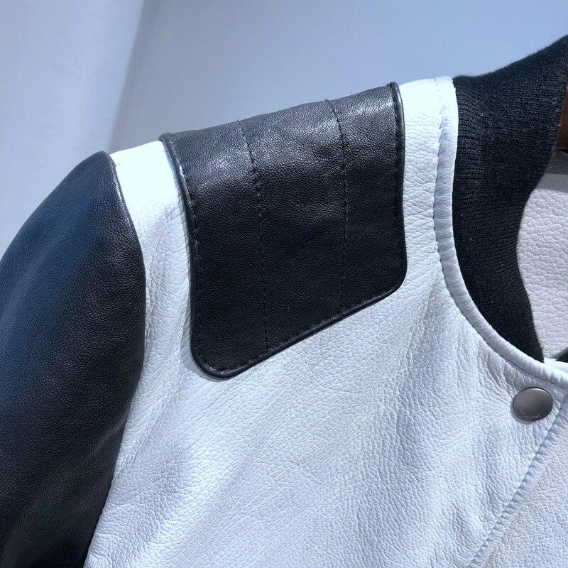 Peau En Hiver Beige rouge Vêtements Baseball Blanc Veste Véritable De Mouton Cuir Automne Femmes Robe 2018 Mode Nouvelle Yukou TPq0Sxw