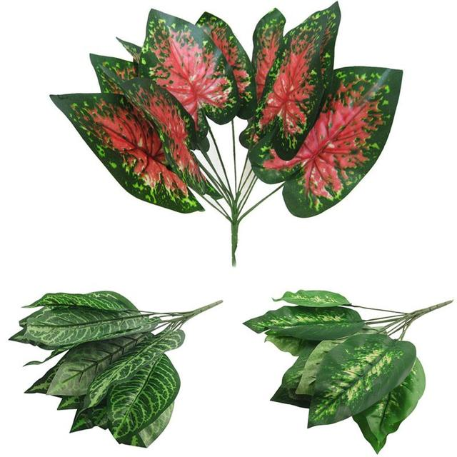 decoration simulation plants green bunch 14 large artificial leaves