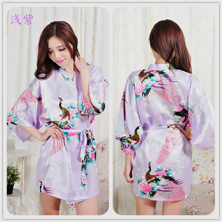Robe 015 Hot Free Shipping Robe Blue Sleepwear Bath Robe Kimono Bridal Silk  Yellow Long(