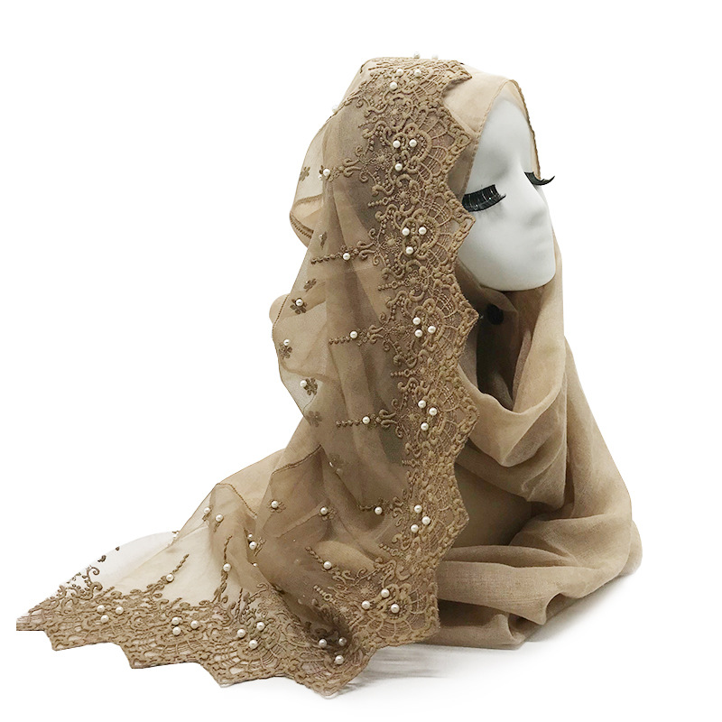 2019 Women Plain Pearl Cotton Lace Scarf Head Hijab Wrap Solid Cover-up Shawls Foulard Femme Headband Muslim Hijabs Store