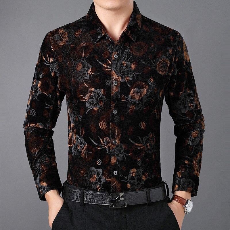 Beautiful 3d Flower Pattern Fashion Casual Luxury Long Sleeve Shirt Autumn 2018 Quality Velvet Soft Comfortable Shirt Men M-XXXL