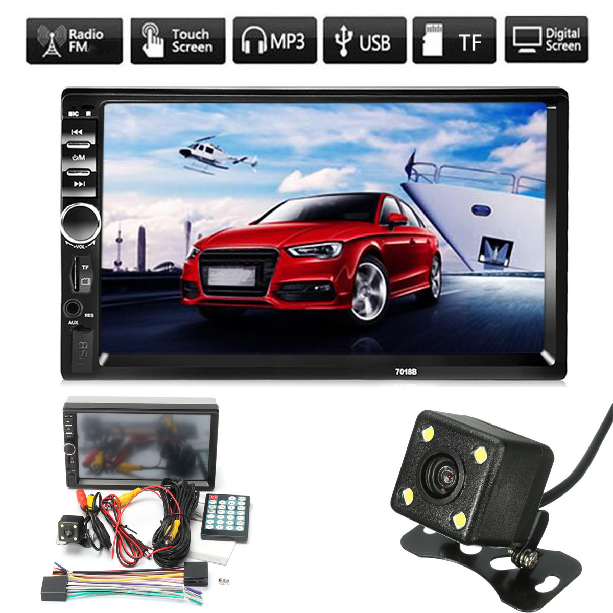 7 HD Touch Screen 2 Din Car Radio Player Auto Audio Stereo Digital Display USB Bluetooth MP5 FM AUX with Rear View Camera 2 din 7 car stereo radio bluetooth hd touch screen fm mp5 mp3 usb aux with rear view camera car bluetooth aux radio player