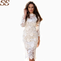 2017 Brand Designer White Lace Dress Women's High Quality Long Sleeve Embroidery Cutout Elegant Dress Hollow Out