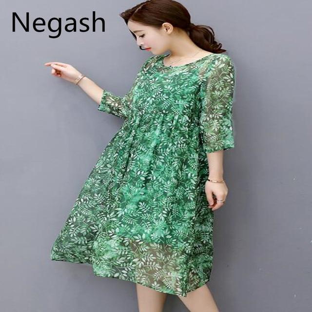 a38c38c31c M-3XL Negash New Women Printed Dress 2pcs Boho Chiffon silk Dresses Plus  size Spring A-line Long Dress women high quality